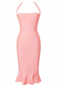 Pink Halter Mermaid Midi Bodycon Bandage Dress with Flare