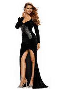 Lace Embroidery Accent High Split Black Velvet Dress