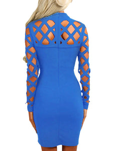 Blue Hollow-out Long Sleeve Mock Neck Bodycon Dress