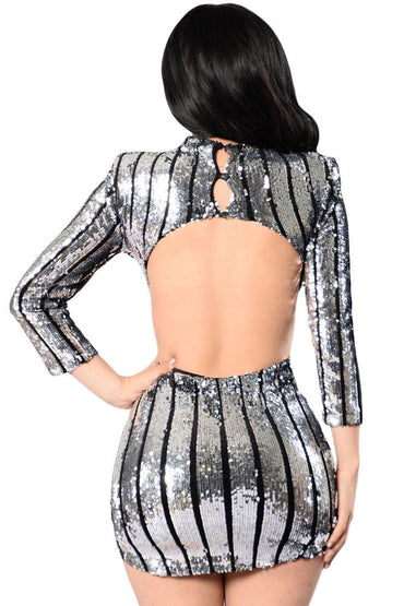 Silver Sequins Hollow-out Club Dress
