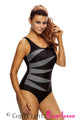 Gray Splicing Color Block Black Monokini