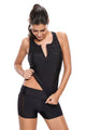Black Pullover Tank Top Shorts Tankini Set