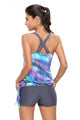 Bluish Print Blouson Tankini with Grey Swim Bottom