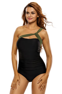 Army Green Straps Accent Black One Piece Swimsuit