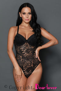 Black Sexy Push up Lace Teddy