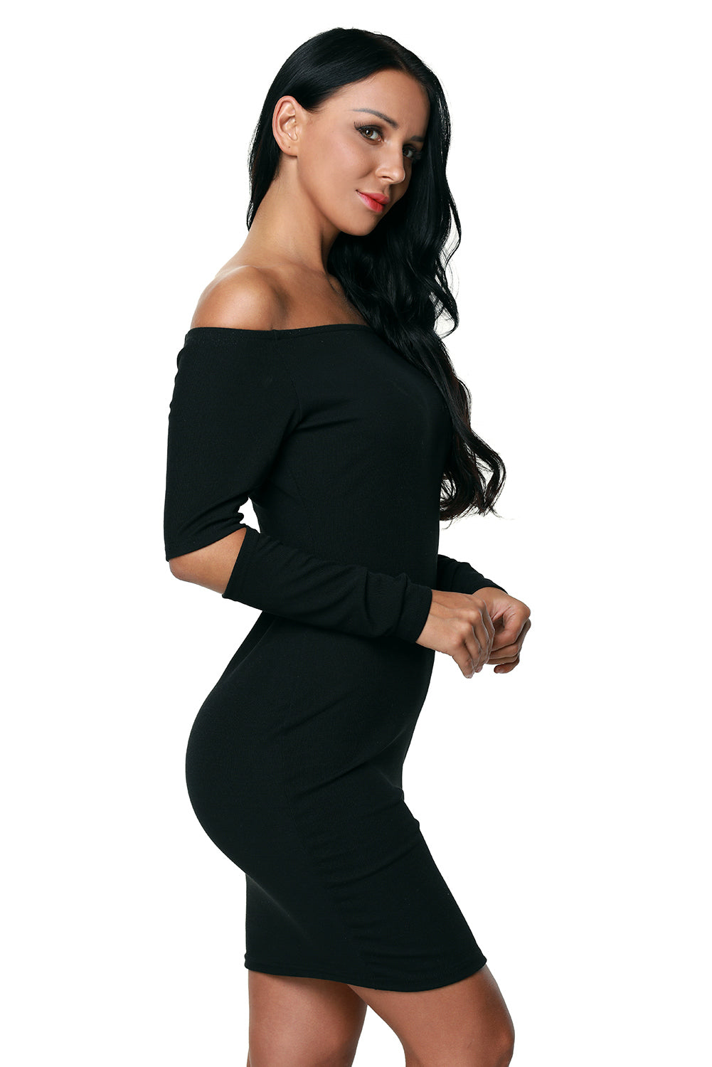 bcaf598571cc Sexy Black Ribbed Knit Off Shoulder Cut Out Long Sleeves Dress ...