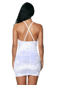 White Wrap V Neck Ruched Velvet Club Dress