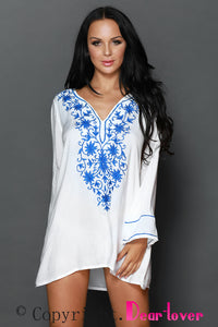 Deep V-neck Floral Embroidery Sheer Cotton Beachwear