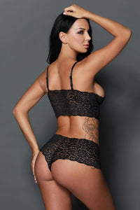 Black Stretch Lace Bralette Lingerie Set