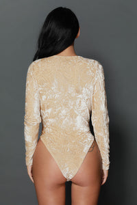 Apricot Crushed Velvet Long Sleeves Bodysuit