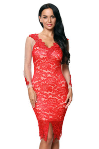 Red Lace Applique Nude Illusion Long Sleeve Dress