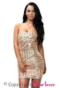 Rose Gold Sequined Strapless Nightclub Dress