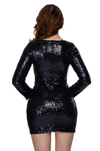 Black Ruched Sequin Long Sleeve Nightclub Dress