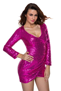 Purple Ruched Sequin Long Sleeve Nightclub Dress