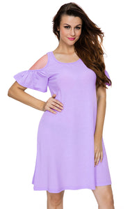 Lilac Naughty Cute Cold Shoulder Short Dress