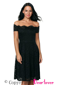 Black Plus Size Scalloped Off Shoulder Flared Lace Dress