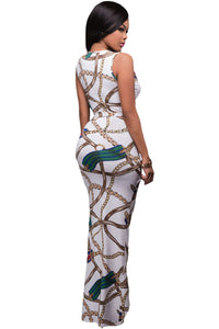 Chic Chain Print High Split Maxi Boho Dress