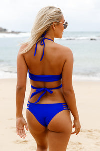 Royal Blue Strappy Crisscross Sexy Two Piece Swimsuit
