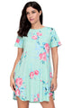 Casual Pocket Design Mint Floral Short Boho Dress