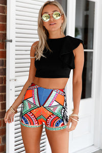 Multicolor Tribal Print Party High Waist Shorts
