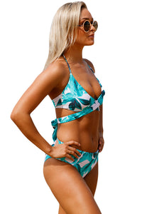 Tropical Print Cross Top Bikini