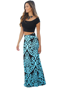 Blue Tendril Printed Maxi Skirt