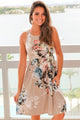 Fall in Love with Floral Print Boho Dress in Light Coffee