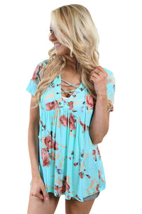 Light Blue Floral Grommet Lace Up V Neck Loose Shirt