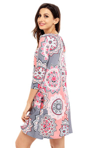 Bohemian Sunflower Print Grey Dress