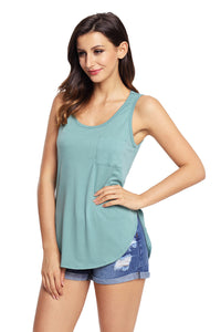 Green Summer Side Slits Tank Top with Pocket