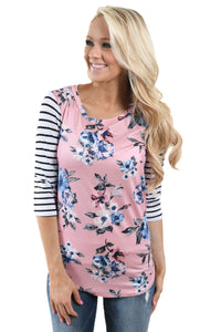 White Striped Sleeves Pink Floral Top