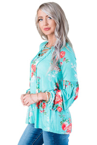 Turquoise Floral Criss Cross Long Sleeve Top