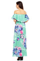 Flower Print Mint Grounding Off Shoulder Long Boho Dress