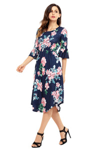 Navy Blue 3/4 Bell Sleeve Floral Midi Dress