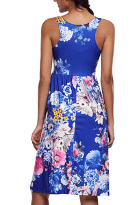 Fall in Love with Floral Print Boho Dress in Royal Blue