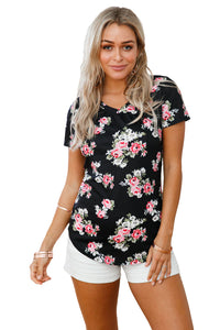 Black Floral V Neck Short Sleeve T-shirt