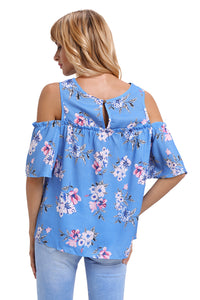 Cold Shoulder Blue Floral Blouse