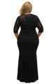 Full-figured Womens Elegant Half Sleeves Black Gown