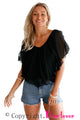 Black Cold Shoulder Flutter Top