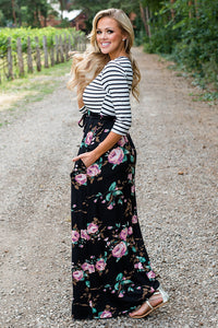 Striped Black Floral Skirt Maxi Dress with Tie Waist