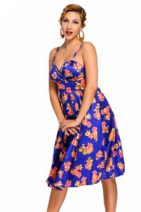 Blue Pin-up Digital Floral Swing Vintage Dress