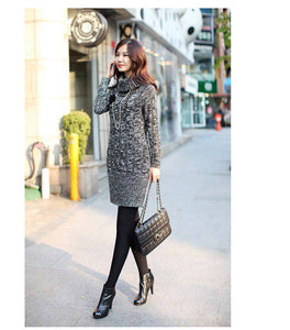 Grey Turtleneck Thick Pullover Sweater Dress