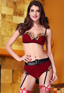 2pcs Leopard Trims Christmas Velvet Bra Set