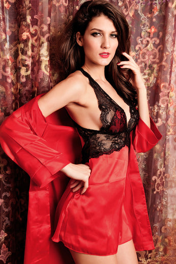 2pcs Seduce Slip Satin Sleepwear Red