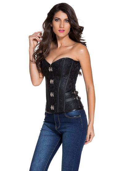 2pcs 14 Steel Bones Buckle Sides Lace up Overbust Corset