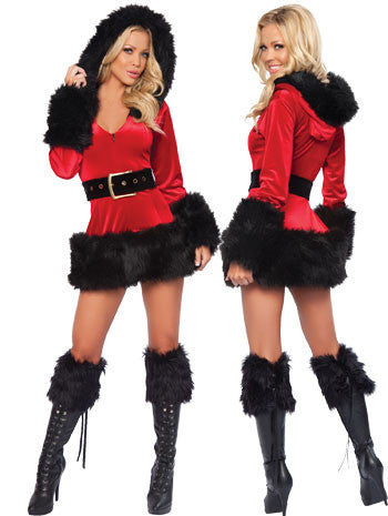 3 Piece Hooded Fur Trim Velvet Santa Costume