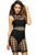 3pcs Black Caged Bandage Dress