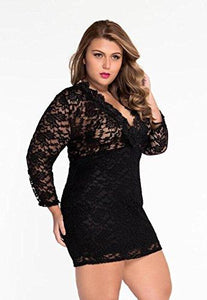 Women's Hollow Out Lace V Neck Clubwear Mini Dress by Roswear, Color - Black