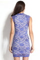 Royal-Blue Lace Nude Illusion Vintage Dress