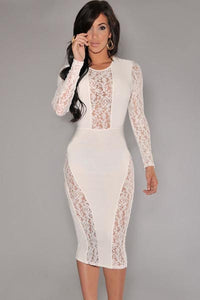 White Lace Accent Party Midi Dress  SA-BLL27803-1 Fashion Dresses and Midi Dress by Sexy Affordable Clothing